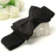 Women Chiffon Bowknot Elastic Bow Wide Stretch Buckle Waistband Waist Belt