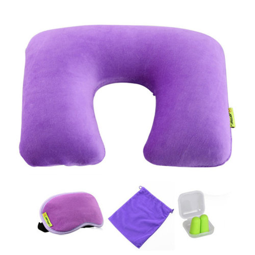 Comfortable Neck Pillow Travel Pillow With Sleep Mask And  Earplugs   C