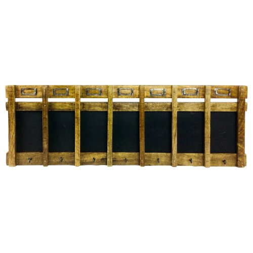 Wooden Weekly Blackboard with Seven Hooks Memo Message and Name Holders