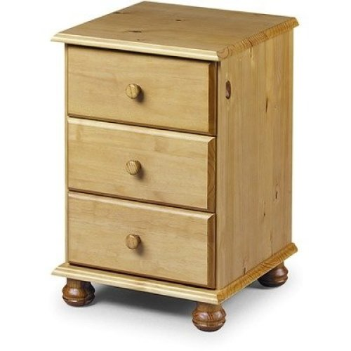 Crenby Pine 3 Drawer Bedside Chest Fully Assembled Option