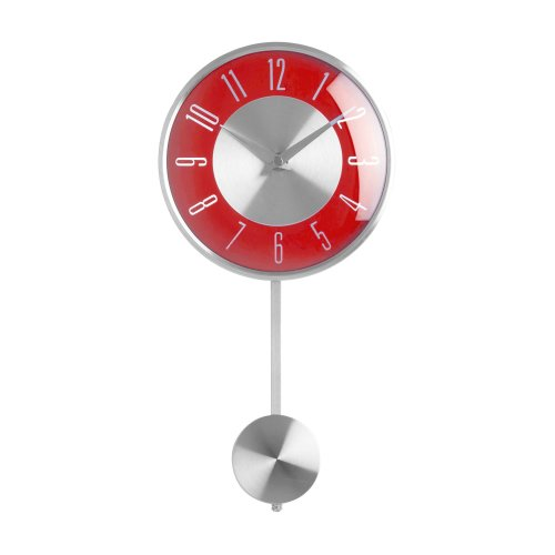 Premier Housewares Pendulum Wall Clock, Red
