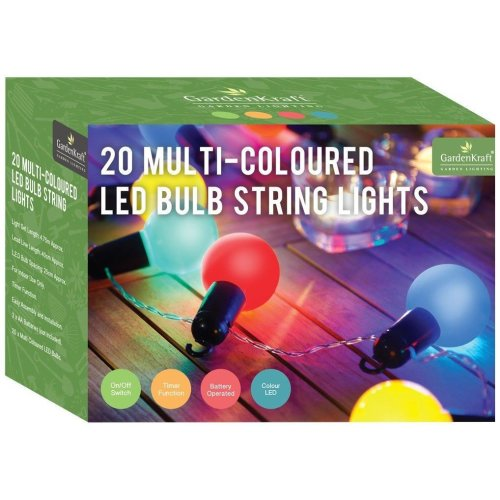 20 X Gardenkraft 62150 Battery Operated LED Bulb Party Timer Light - Multi-Colour