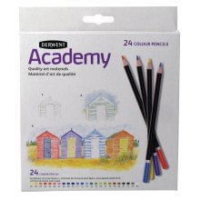 Derwent Academy Colour Carton Of 24, Twin Hole Sharpener With 2 Sized