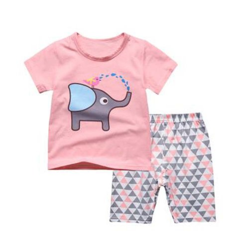 Girl Elephant Pajamas Soft Cotton Kids Summer Children Sleepwear