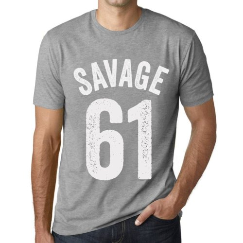 a2079995e Mens Vintage Tee Shirt Graphic T shirt Savage 61 Grey Marl on OnBuy