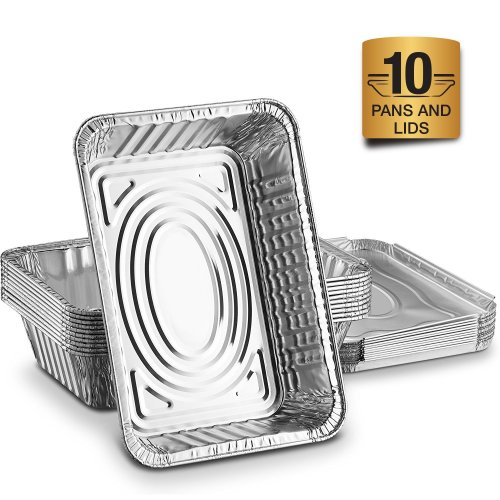 Disposable Aluminum Foil Trays Containers With Foil Lids 1000ml. Great For Baking Food Storage Takeaway Tin & More Pack Of 10