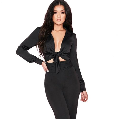 Colysmo Suit Collar Open Front Bow Tie Sexy Satin Silk Bodysuit Women Romper Playsuit Body Feminino Long Sleeve Silky Blouse New