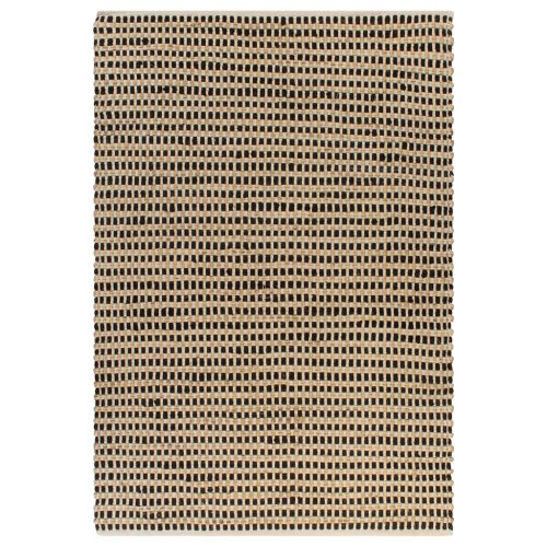 vidaXL Hand-Woven Jute Area Rug Fabric 120x180cm Natural and Black Carpet Mat