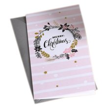 Christmas Cards Greeting Cards Christmas Gift Xmas Cards (4 Cards and Envelopes), Pink # 40