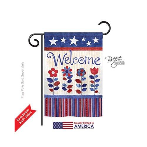 Breeze Decor 61056 Patriotic Patriotic Welcome 2-Sided Impression Garden Flag - 13 x 18.5 in.