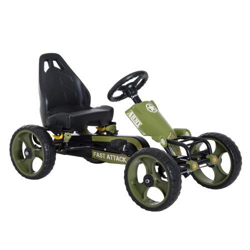 HOMCOM Kids Pedal Go Kart W/Hand Brake-  Green