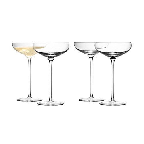 LSA Wine Collection Champagne Saucers 10.5oz / 300ml - Pack of 4 | Champagne Glasses, Champagne Coupe Saucers - Handmade Glasses from LSA