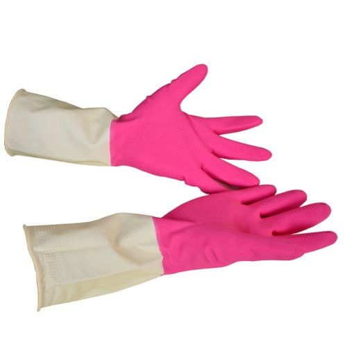 Domestic Household Durable Winter Dishwashing Gloves Rubber Gloves PINK