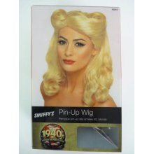 Adult's Blonde Pin Up Girl Wig -  blonde pin up wig fancy dress 1940s ladies smiffys ww2 wartime world