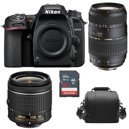 NIKON D7500 KIT AF-P 18-55MM +TAMRON AF70-300mm+Bag+16gb SD card