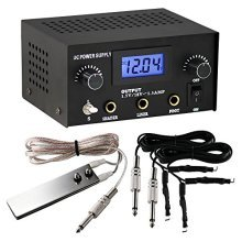1TattooWorld Dual Digital Tattoo Power Supply with Foot Pedal and 2 Clip Cords, Black Color, OTW-P008-3.1