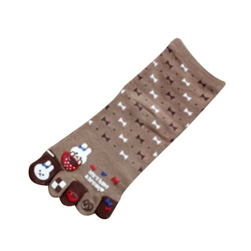 Cartoon Tube Toe Scoks Warmming Female Brown Socks