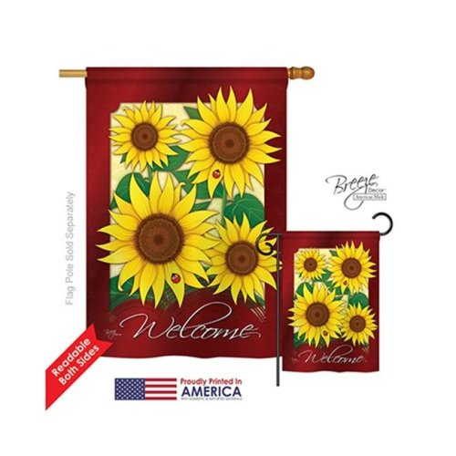 Breeze Decor 04067 Floral Welcome Sunflowers 2-Sided Vertical Impression House Flag - 28 x 40 in.
