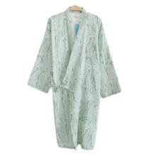 Japanese Style Women Thin Cotton Bathrobe Pajamas Kimono Skirt Gown-A10