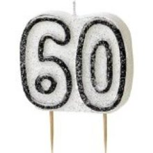 Age 60 Birthday Candle Black Glitz