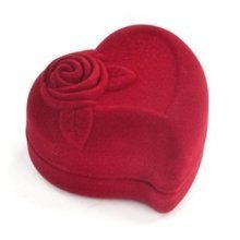 Trixes Red Love Heart Flocked Ring Box