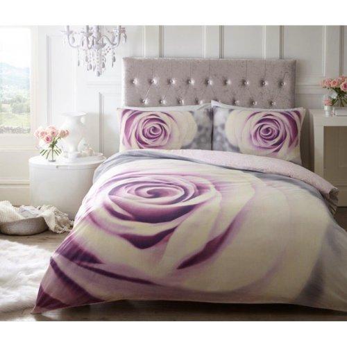 Pretty Pastel Rose Modern Duvet Cover Bedding Quilt Set