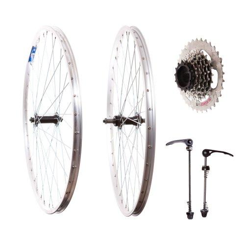 """Pair 26"""" Mountain Bike ALLOY WHEELS 7 spd FREEWHEEL COG & Quick release SKEWERS"""