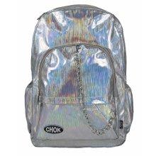 5c7b120e37 CHOK HOLO SILVER STRIPE HOLOGRAM BACKPACK RUCKSACK BAG with LAPTOP  PROTECTION