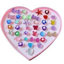 36PCS Shiny Plastic Girls Toys Rings, Princess Dress Up [E]