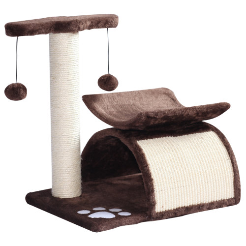 Pawhut Cat Tree Scratching Post Kitten Scratcher Kitty Activity Play Center Sisal Rotatable Top Bar Tunnel Dangling Ball