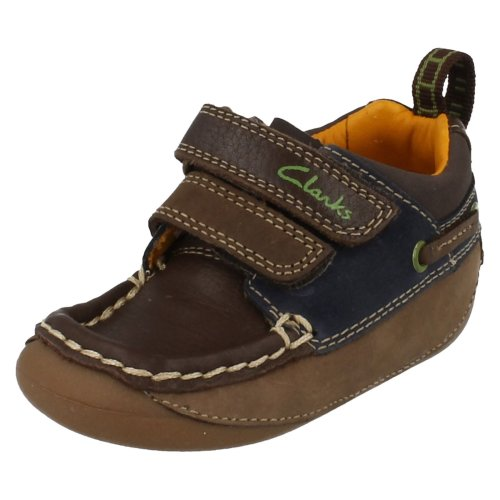Boys Clarks First Shoes Crusher - Brown Leather - UK Size 3F - EU Size 18.5 - US Size 3.5M