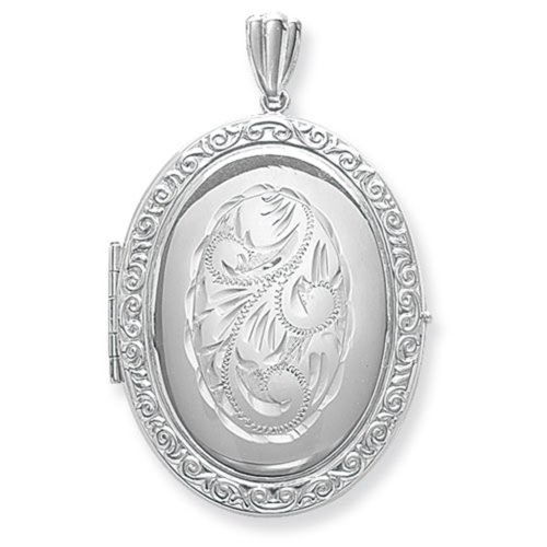 Childrens Sterling Silver Full Engraved Family Oval Locket On A Curb Necklace
