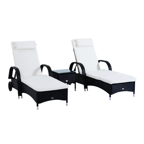 3pc Outsunny Rattan Reclining Sun Lounger & Table Set - Black