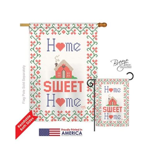 Breeze Decor 00062 Welcome Sweet Home 2-Sided Vertical Impression House Flag - 28 x 40 in.