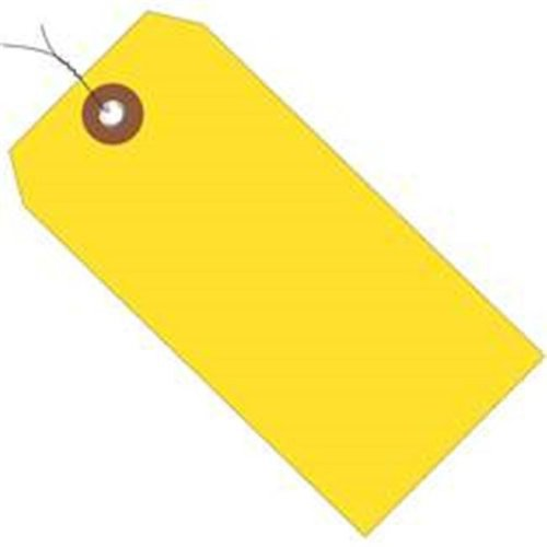 Box Partners G26059W 6.25 x 3.12 in. Yellow Plastic Shipping Tags - Pre-Wired - Pack of 100