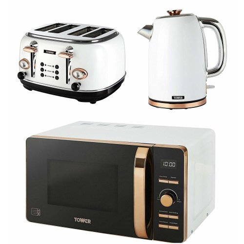 Tower Rose Gold & White Digital Microwave, 4-Slice Bottega Toaster & 1.7L Jug Kettle