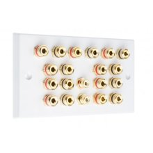 White 9.2 Speaker Wall Plate 18 Terminals + 2 RCA Phono Sockets - Two Gang - No Soldering Required