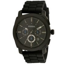 Fossil Black Silicone Chronograph Mens Watch FS4487