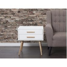 Bedside table - modern- with drawers - white - ALABAMA