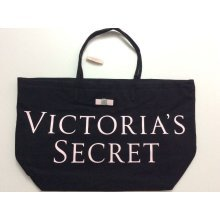 Victoria's Secret Logo Beach Travel Tote Bag Black
