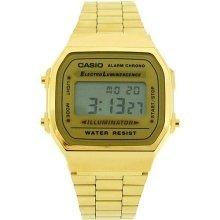 CASIO A168WG Gents Watch Mens Digital Chronograph Gold Tone Metal Bracelet Watch