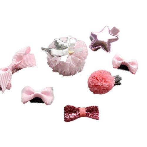 Set of 7 Soft Cloth Hair Clips Pink Style Bow Clips Little Girls Small Hair