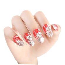 24 PCS Shiny Wedding Bride False Nails Art Nails Sticker