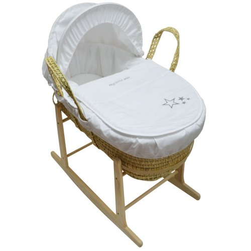 Beautiful Baby Moses Basket With Natural Rocking Stand White My Little Star Palm