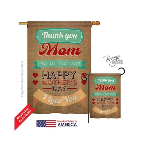 Breeze Decor 15099 Thanks Mom 2-Sided Vertical Impression House Flag - 28 x 40 in.