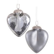 Set of Two Grey Silver Crackle Glass Heart Christmas Tree Bauble Decorations