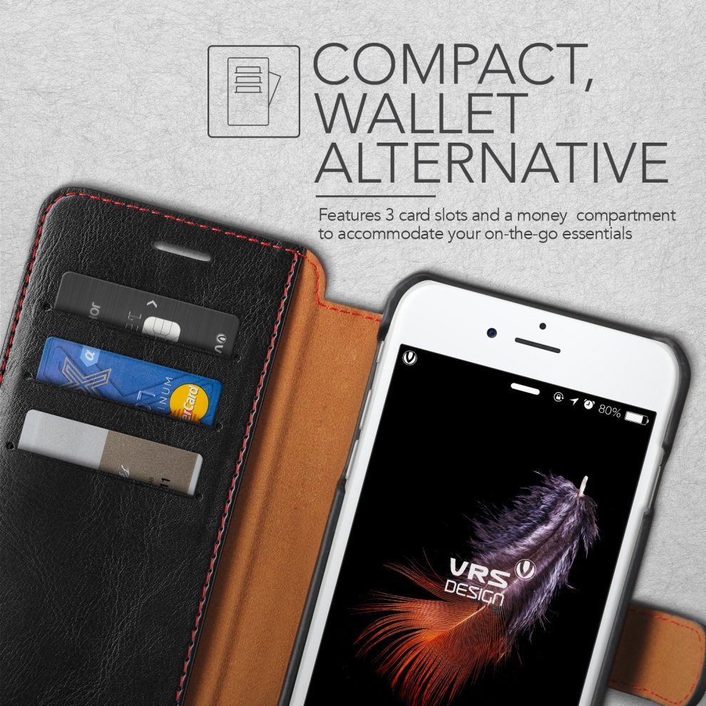 huge selection of 414ac a9abf iPhone 8 Plus Case / iPhone 7 Plus Case VRS Design® [Black] High Quality PU  Leather Case [Layered Dandy] Flip Wallet Cover with 3 Card Slots for...