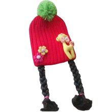 Lovely Baby Girl Knitted Hat Kids Cap with Braids Red Deer