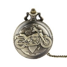 Antique Bronze Coloured Motorbike Pocket Watch and Chain Biker