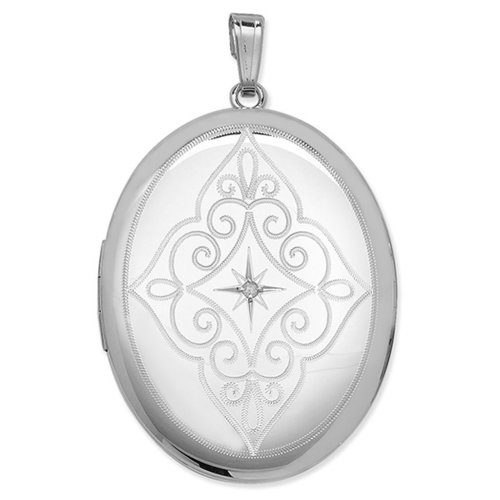 Childrens Sterling Silver Diamond Set Engraved Oval Locket On A Curb Necklace